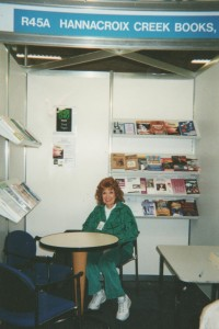 Mom at the Hannacroix Creek Books stand - LBF